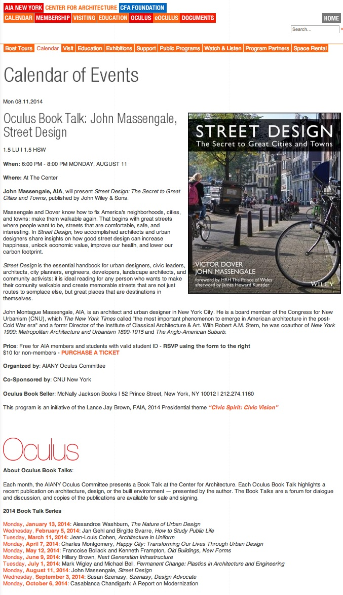 John Massengale & Street Design @ AIA NY & the Center for Architecture