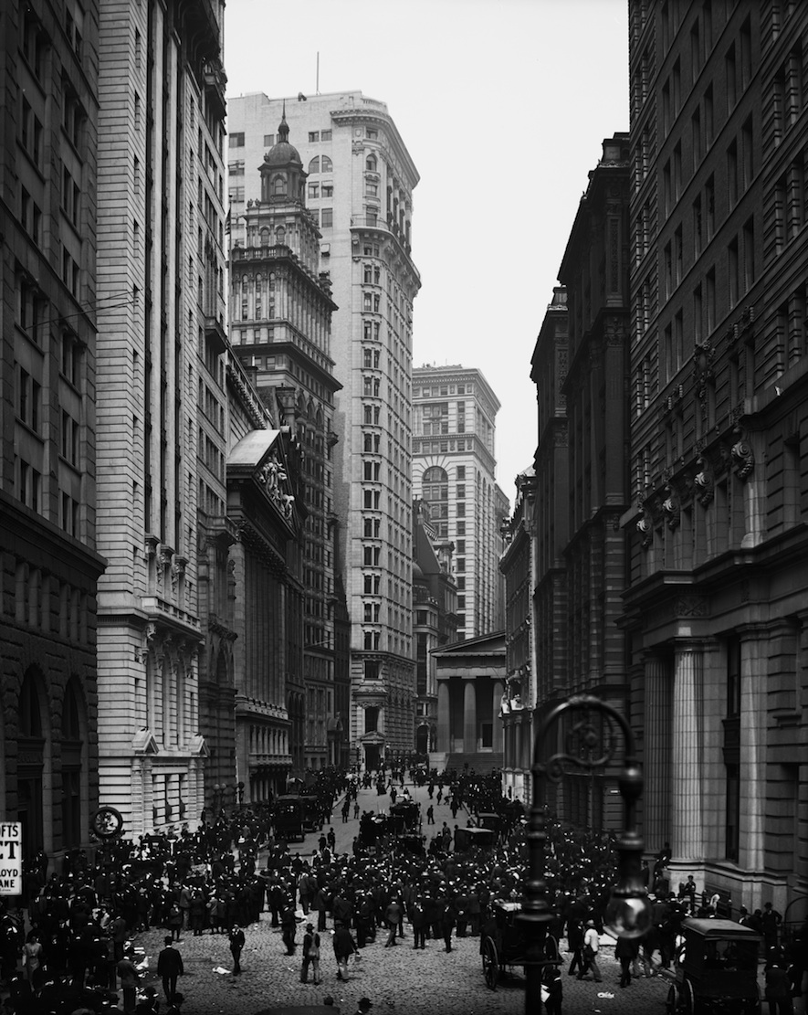 Broad Street, New York, New York. Looking towards Federal Hall and Wall Street in 1908.